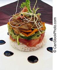 gourmet, nourriture, stacker
