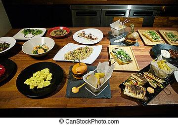 gourmet, nourriture, table., bois