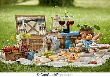 Gourmet picnic lunch for two in a lush green park