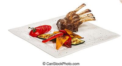 gourmet, principal, entree, curso, grelhados, cordeiro, bife
