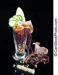 Gourmet salad in glass