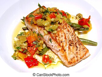 Gourmet Salmon Meal - A gourmet salmon meal on a white plate