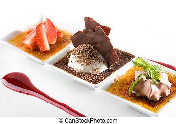 gourmet, stilfuld, dessert