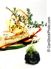 Gourmet style grilled fish with vegetables