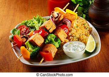 Gourmet Tofu Skewers on Java Rice with Mustard Sauce