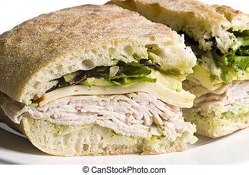 gourmet turkey chicken sandwich muenster cheese on ciabatta bread