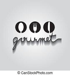 gourmet, typo, vetorial, eps, 10