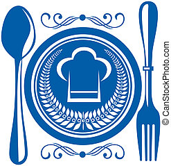 Gournet food award with plate and cutlery - Gournet food...