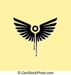 goutte, ailes, liquide, noir, vecteur