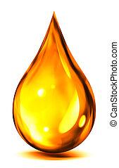 goutte, de, huile, ou, carburant