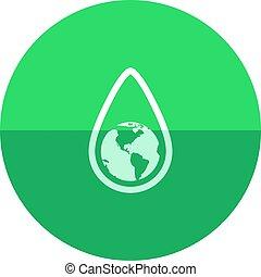 goutte, -, eau, la terre, cercle, icône