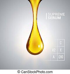 goutte, gouttelette, conception, briller, serum., collagène, doré, suprême, cosmétique, huile, essence
