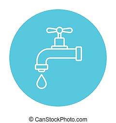 goutte, icon., ligne, égouttement, robinet
