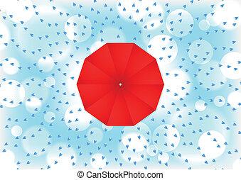 goutte, parapluie, rouges, pluie