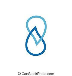 goutte, symbole, vecteur, 8, logo, nombre, eau, lié