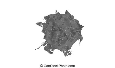 gouttelette, 12, ver, liquide, render, gris, très, masque, détail, chutes, élevé, compositing., encre, alpha, blanc, surface., 3d