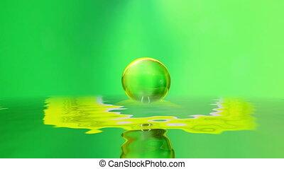 gouttelette eau, -, surface