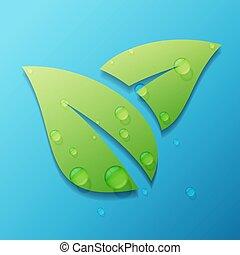 gouttelette, feuille, isolé, arrière-plan vert, blanc
