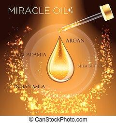 gouttelette, huile, essence, miracle, sérum, 3d
