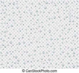 gouttelettes, isolé, pluie, ou, eau, arrière-plan.,...