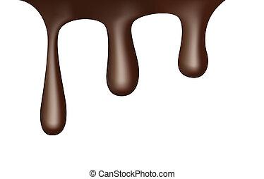 gouttes, écoulement, chocolat