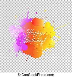 gouttes, anniversaire, fond, transparent, carte, heureux