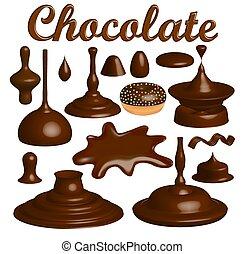 gouttes, ensemble, eclabousse, illustration, chocolat