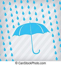 gouttes, parapluie, bleu, pluie