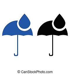 gouttes, parapluie, pluie, icône