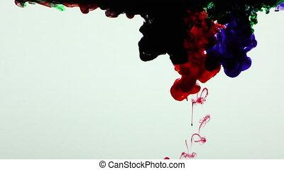 gouttes, peinture eclabousse, coloré, encre