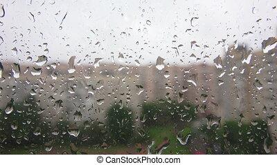 gouttes pluie, fenêtre, verre.