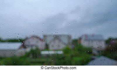 gouttes pluie, fenêtre