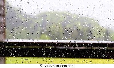 gouttes pluie, foyer verre, fenêtre, plastique