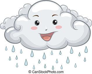 gouttes pluie, heureux, nuage, mascotte