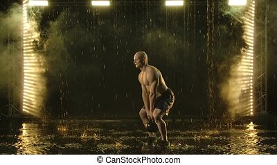 gouttes pluie, motion., noir, engagé, crossfit, homme, ...