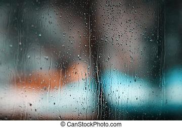 gouttes pluie, verre