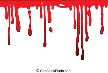 gouttes, rouges, écoulement