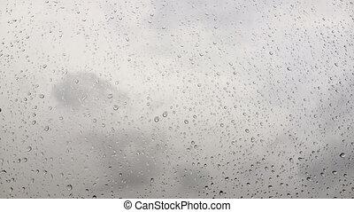 gouttes, verre, temps, nuageux