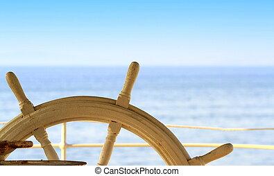 gouvernail, bateau, mer