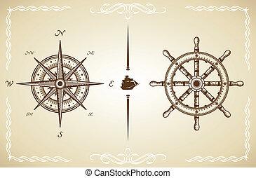 gouvernail, vecteur, vendange, compas