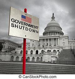 gouvernement, etats unis, fermeture