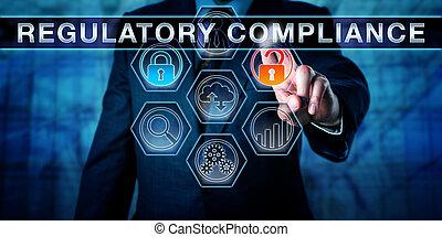 gouvernement, officier, pousser, regulatory, conformité