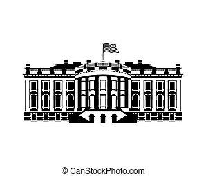 gouvernement usa, maison, politique, nous, signe, manoir, president., repère, blanc, amérique, icon., bâtiment.