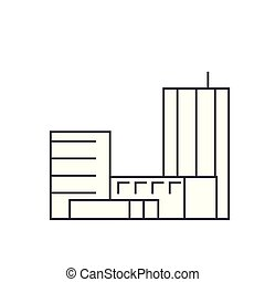 Goverment building thin line icon concept. Goverment building linear vector sign, symbol, illustration.