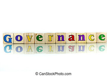 governance colorful wooden word block on the white ...