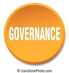 governance orange round flat isolated push button
