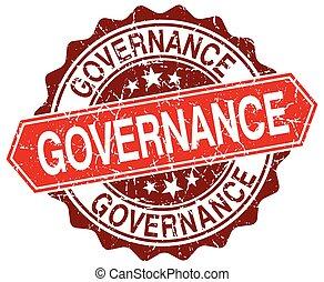 governance red round grunge stamp on white