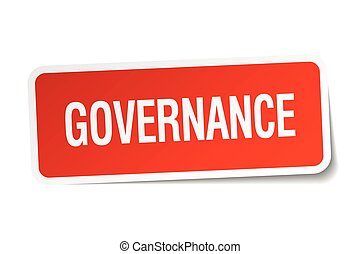 governance red square sticker isolated on white