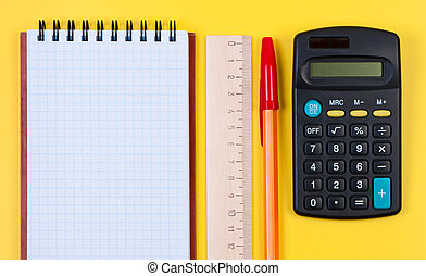 governatore legno, calcolatore, blocco note, pen.