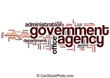 Government agency word cloud concept with office...